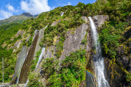 Foto op Canvas Oceanië Franz Josef glacier waterfalls, New Zealand