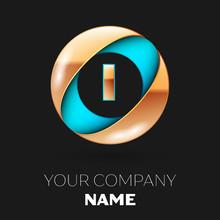 Realistic Golden Letter I Logo...