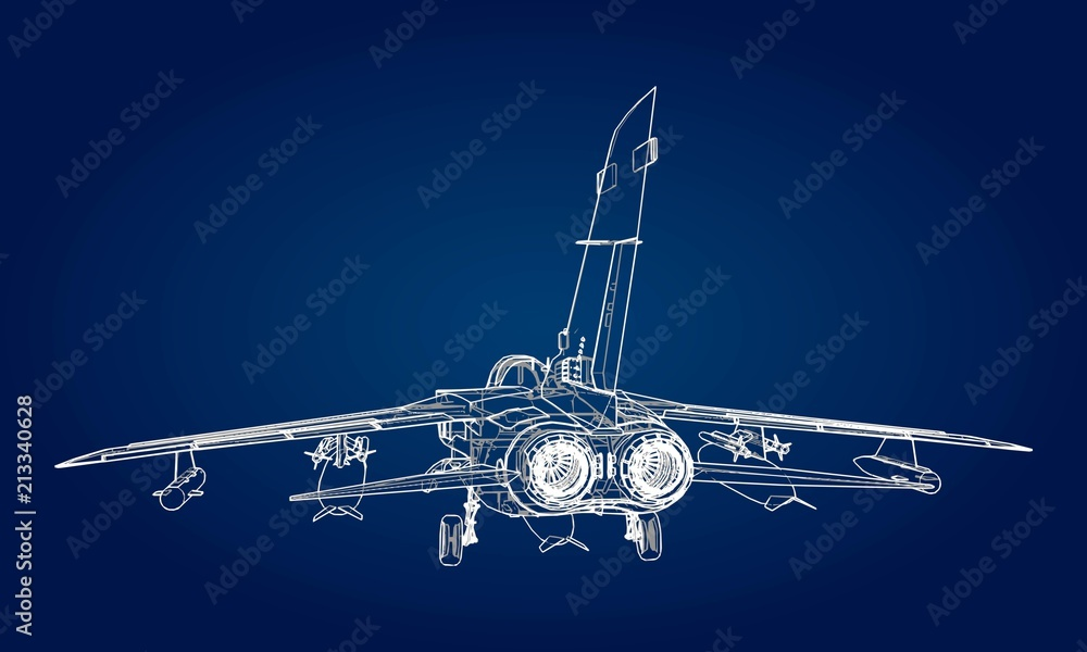 Fototapety, obrazy: Military jet fighter silhouettes. Image of aircraft in contour drawing lines. The internal structure of the aircraft.