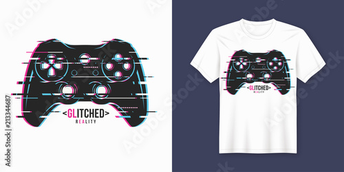 Photo  Stylish t-shirt and apparel trendy design with glitchy gamepad,