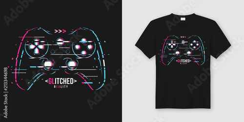 Fotomural Stylish t-shirt and apparel trendy design with glitchy gamepad,