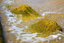 Sea Waves Hitting The Shore Rocks