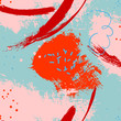 Vector abstract paint backdrop. Stain handmade contrast pattern. Trendy grunge orange red blue ink. Dirty gouache line stroke spray. Minimalistic canvas cover