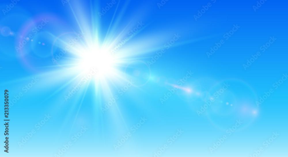 Fototapeta Sunny background, blue sky with sun and lens flare