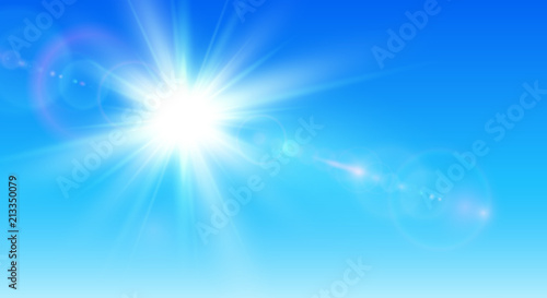 Fototapeta Sunny background, blue sky with sun and lens flare obraz