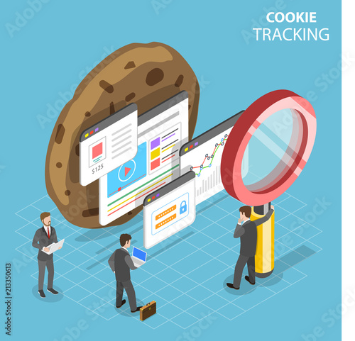 Fotografiet Flat isometric vector concept of web cookie tracking.