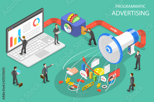 Photo  Flat isometric vector concept of programmatic advertising, social media campaign