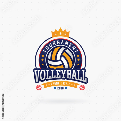 volleyball tournament logo emblem label volleyball design
