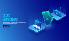 3D Isometric Illustration Of Security Shield Between Pc And Cloud Server For Data Protection Concept Landing Page Or Web Template Design.