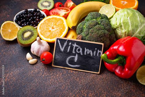 Fototapeta Food containing vitamin C. Healthy eating obraz