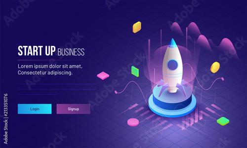 Fotografie, Obraz  3D illustration of rocket with infographic elements and ultraviolet rays for Business Startup concept landing page design
