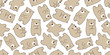 bear seamless pattern vector polar bear panda teddy scarf background wallpaper repeat isolated brown