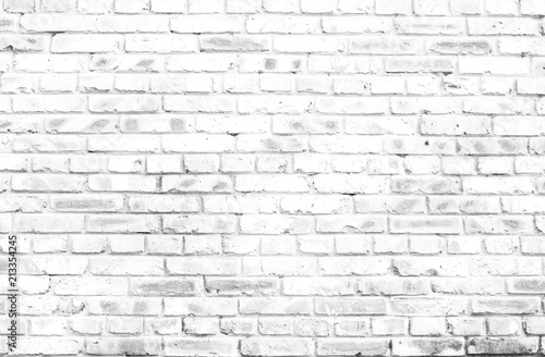 Photo sur Toile Brick wall white brick wall background in rural room