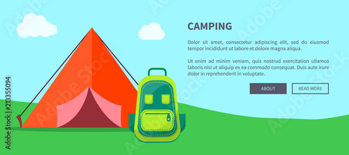 Fotobehang Indiërs Summer Camping Template with Tent and Backpack