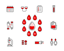 Blood Donation Vector Icon Set Isolated On White Background . Blood Transfusion Concept Illustration. Donor Infographic Elements With Blood Types. Donor Banking Line Icons Editable Stroke.