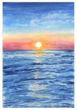 Watercolor Painting The Background Of Sea Sunset View.