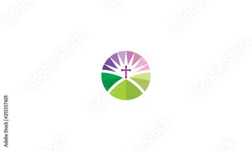 Cuadros en Lienzo Christian cross praying logo icon vector