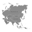Territory of Asia continent. White background. Vector illustration