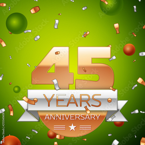 Realistic Forty five Years Anniversary Celebration design banner Poster