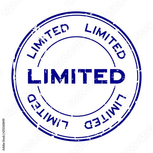 Fotografía Grunge blue limited round rubber seal stamp on white background