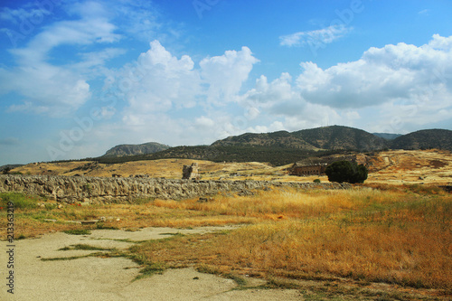 Foto op Aluminium Oude gebouw Ancient theater in Hierapolis, front of view, Turkey,Pamukkale