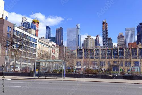 Poster Chocolate brown City skyline in Midtown West Manhattan New York
