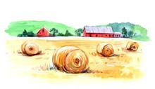 Rural Landscape. Watercolor Il...