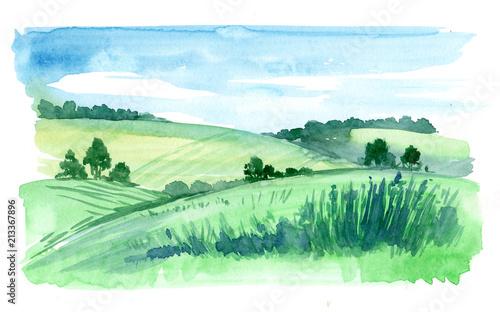 Poster Wit Rural landscape. Watercolor illustration