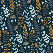 Modern Seamless Pattern With Wild Floral Elements. Hand Drawn Flowers, Herbs And Leaves. Vector Wallpaper.