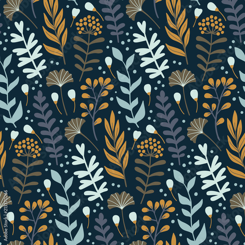 Modern seamless pattern with wild floral elements Принти на полотні