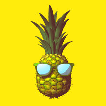 Pineapple Drawing Illustration Isolated On Yellow BG