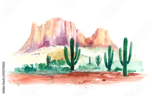 Desert of South America with cacti Wallpaper Mural