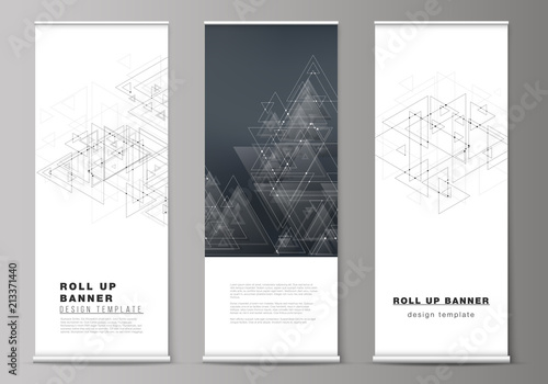 the editable vector layout of roll up banner stands vertical flyers