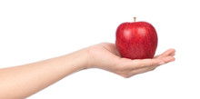 Hand Holding Red Apple Isolated On White Background