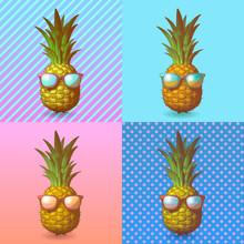 Pineapple With Sunglasses Illustration On Pop Art BG