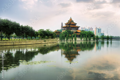 Ingelijste posters Beijing chinese city park, lake, old palace and cloudy sky
