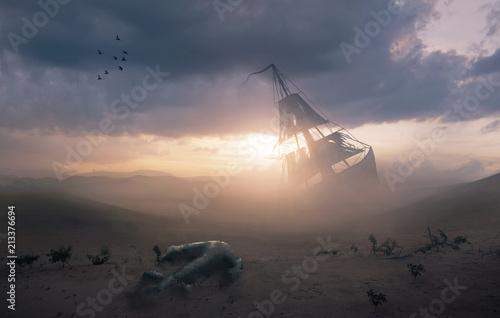 Photo Stands Shipwreck Shipwreck in the desert