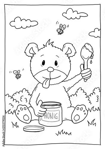 Ausmalbild Bär Mit Honig Buy This Stock Illustration And