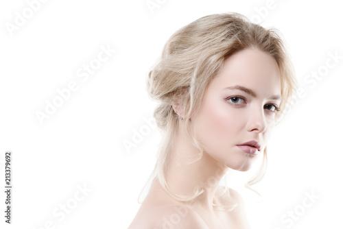 Fotografía  blonde on white background