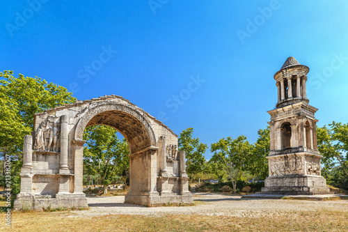 France, Saint-Remy-de-Provence, ancient Roman City of Glanum, Triumphal Arch and Cenotaph. Roman ruins, entrance of ancient city.