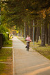 Little girl is riding the bicycle in the park at evening