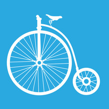 Cartoon Penny Farthing Bicycle - Old Bicycle Icon