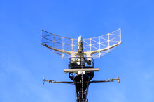 Warship Radar Antenna With Blue Sky