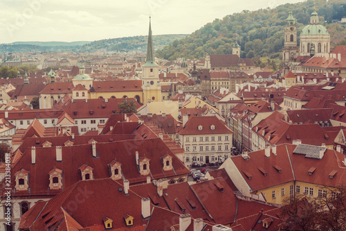 Prague, Czezh Republic. Scenic autumn aerial view of the Old Town