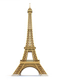 Fototapeta Eiffel Tower - Eiffel Tower golden isolated on a white background