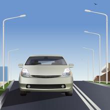 Car On The Road. Flat Design. Vector Illustration.