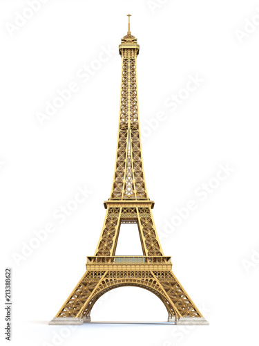 Eiffel Tower golden isolated on a white background Fotomurales