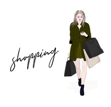 Vector Stylish Woman Going On Shopping. Girl With Shopper Bags In Hands Reading Sms. Modern Outfit. Weekend Sale Fashion  Beauty Illustration. Glamour Lady In Green Coat, Dress And Boots Look