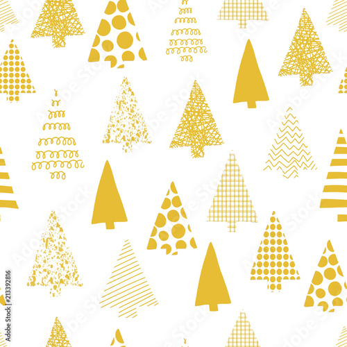 Abstract Christmas Trees Vector Seamless Patern Christmas Tree