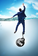 Businessman Drowning Under The...